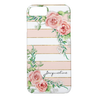Modern Wide Striped Rose BOHO Chic Floral Case