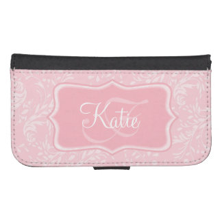 Modern wildflower damask pink cell flap wallet