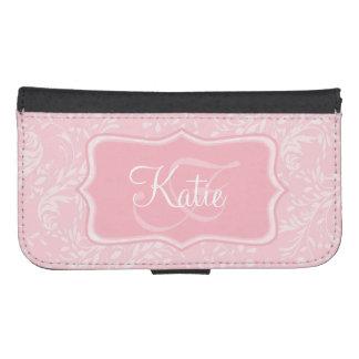 Modern wildflower damask pink cell flap wallet phone wallets