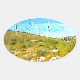 Modern Windmills Oval Sticker