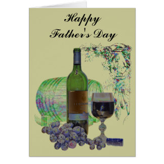 Modern Wine and Grapes Art Card
