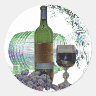 Modern Wine and Grapes Art Classic Round Sticker