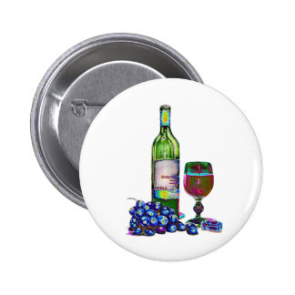 Modern Wine and Grapes Art Gifts 6 Cm Round Badge