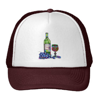 Modern Wine and Grapes Art Gifts Cap