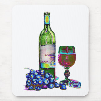 Modern Wine and Grapes Art Gifts Mouse Mat