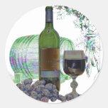 Modern Wine and Grapes Art Round Sticker