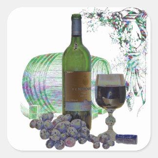 Modern Wine and Grapes Art Square Sticker