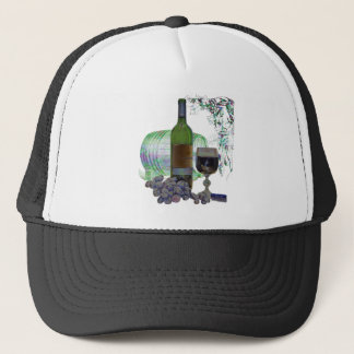 Modern Wine and Grapes Art Trucker Hat