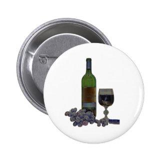 Modern Wine and Grapes Digital Art 6 Cm Round Badge
