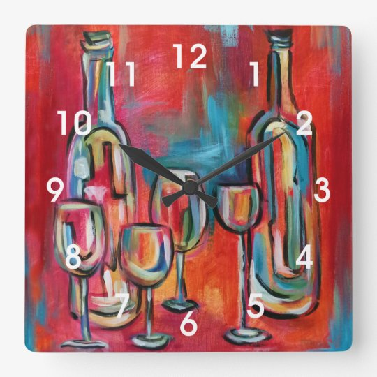 Modern Wine Bottles and Glasses Painting Square Wall