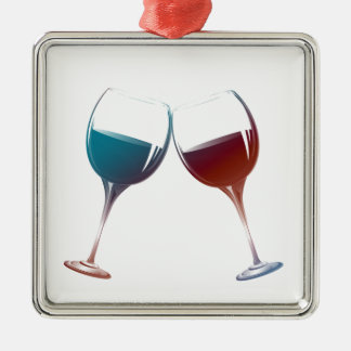 Modern Wine glasses art Christmas Ornament