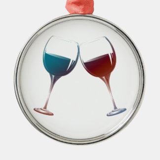 Modern Wine glasses art Silver-Colored Round Decoration