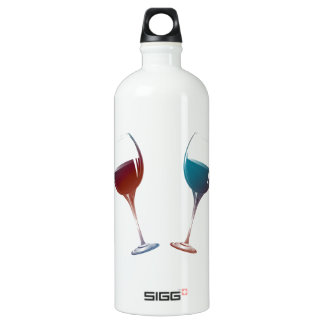 Modern Wine glasses art Water Bottle