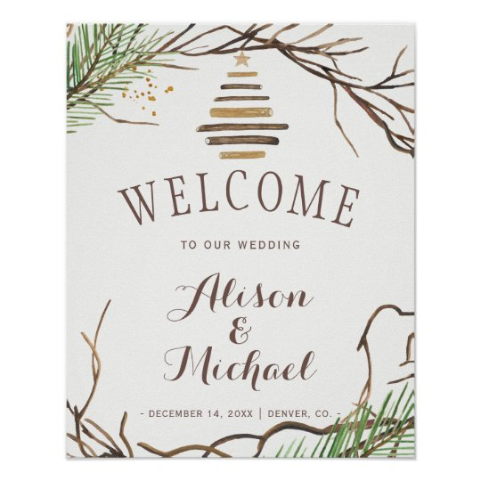 Modern winter branches wreath wedding welcome sign