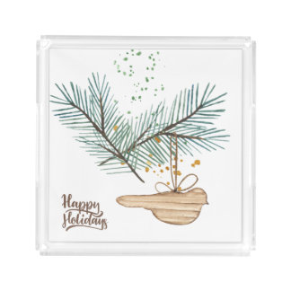 Modern winter forest wooden bird pine holidays acrylic tray