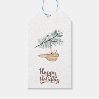 Modern winter forest wooden bird pine holidays gift tags