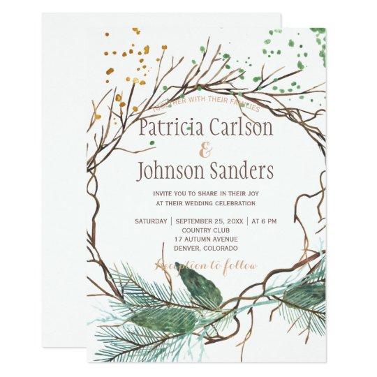 Modern winter nature wreath watercolor wedding card