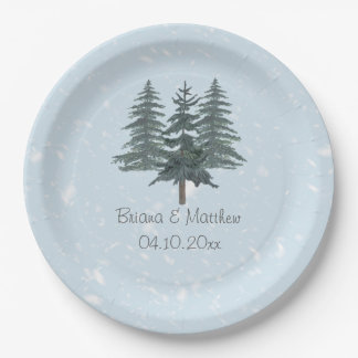 Modern Winter Pine Tree Paper Dinner Plates