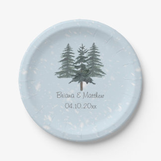 Modern Winter Pine Tree Paper Plates