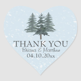 Modern Winter Pine Trees Wedding Heart Sticker