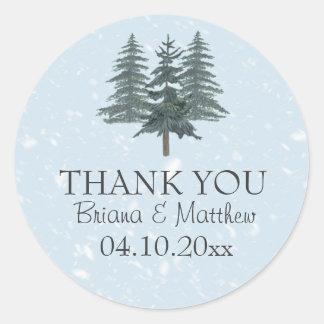 Modern Winter Pine Trees Wedding Sticker
