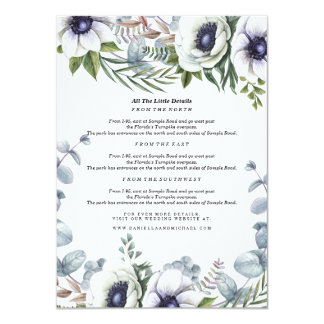 Modern Winter Red Flowers Wedding Insert Card