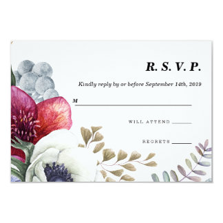 Modern Winter Red Flowers Wedding RSVP Card