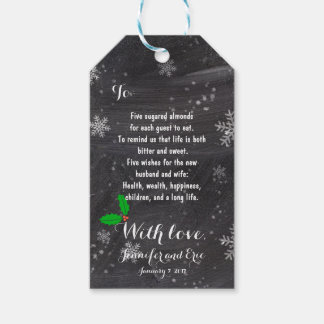 Modern winter snowflakes chalkboard favor 3 gift tags