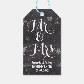Modern winter snowflakes chalkboard Thank you Gift Tags