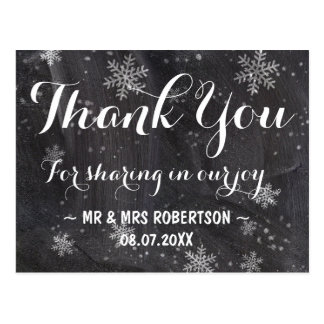 Modern winter snowflakes chalkboard thank you postcard