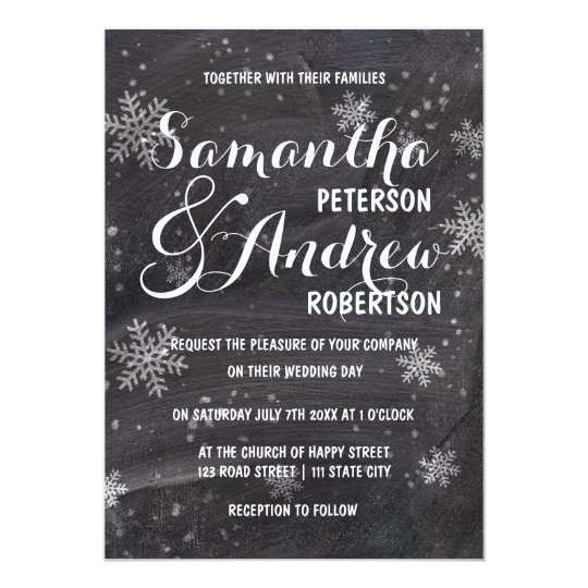 Modern winter snowflakes chalkboard Wedding Card