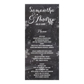 Modern winter snowflakes chalkboard wedding menu
