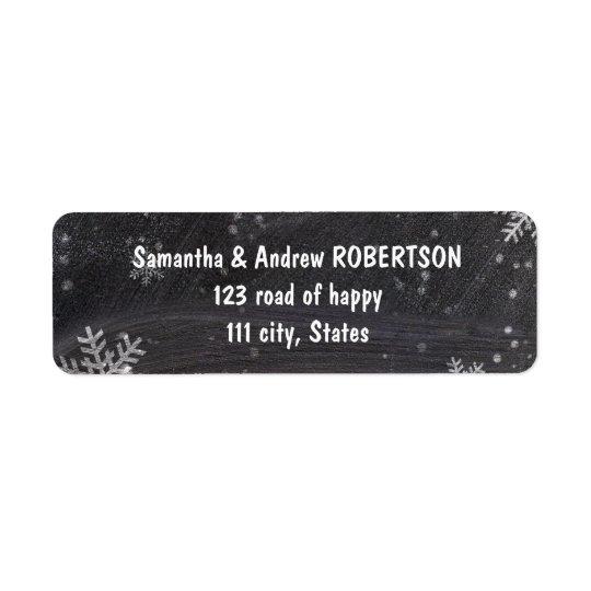 Modern winter snowflakes chalkboard wedding return address label