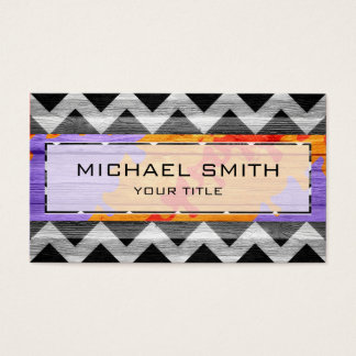 Modern Wood Aztec Chevron Business Card