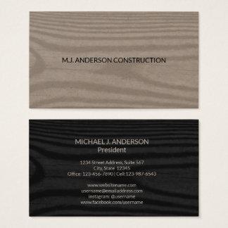 Modern Wood Grain | Simple Minimalist Black Business Card
