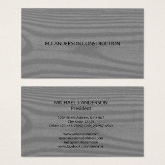 Modern Wood Grain | Simple Minimalist Grey & Black Business Card