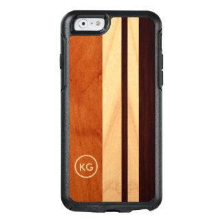 Modern Wood Grain Stripes Custom Initials Logo OtterBox iPhone 6/6s Case