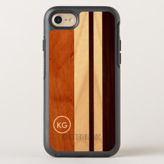 Modern Wood Grain Stripes Initials Logo OtterBox Symmetry iPhone 7 Case