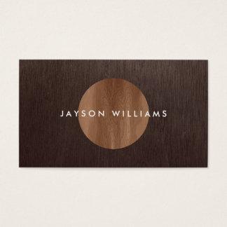 Modern Woodgrain Circle Interior Designer Business Card