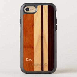 Modern Woodgrain Stripes Pattern Monogrammed OtterBox Symmetry iPhone 7 Case