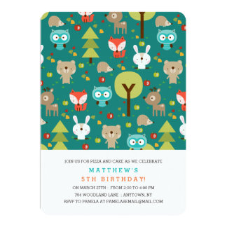 Modern Woodland Friends Birthday Party Invitation