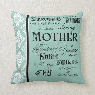 Modern Word Cloud Mother Text Sayings - Aqua Throw Pillow