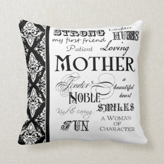 Modern Word Cloud Mother Text Sayings - Black Throw Cushions