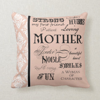 Modern Word Cloud Mother Text Sayings - Blush Cushions