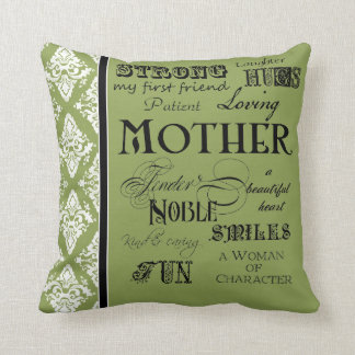 Modern Word Cloud Mother Text Sayings - Grey Cushion