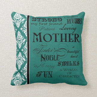 Modern Word Cloud Mother Text Sayings - Grey Throw Pillow