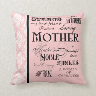 Modern Word Cloud Mother Text Sayings - Pink Black Cushion
