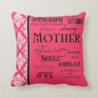 Modern Word Cloud Mother Text Sayings - Pink Black Throw Cushions