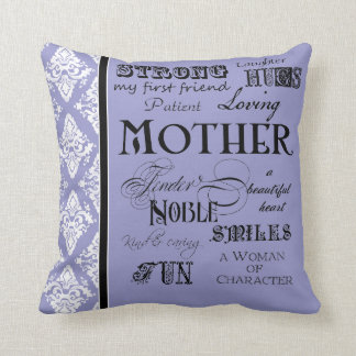 Modern Word Cloud Mother Text Sayings - Purple Cushion