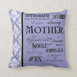 Modern Word Cloud Mother Text Sayings - Purple Throw Cushion